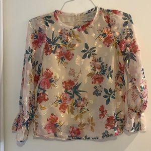 Metallic floral long sleeve top